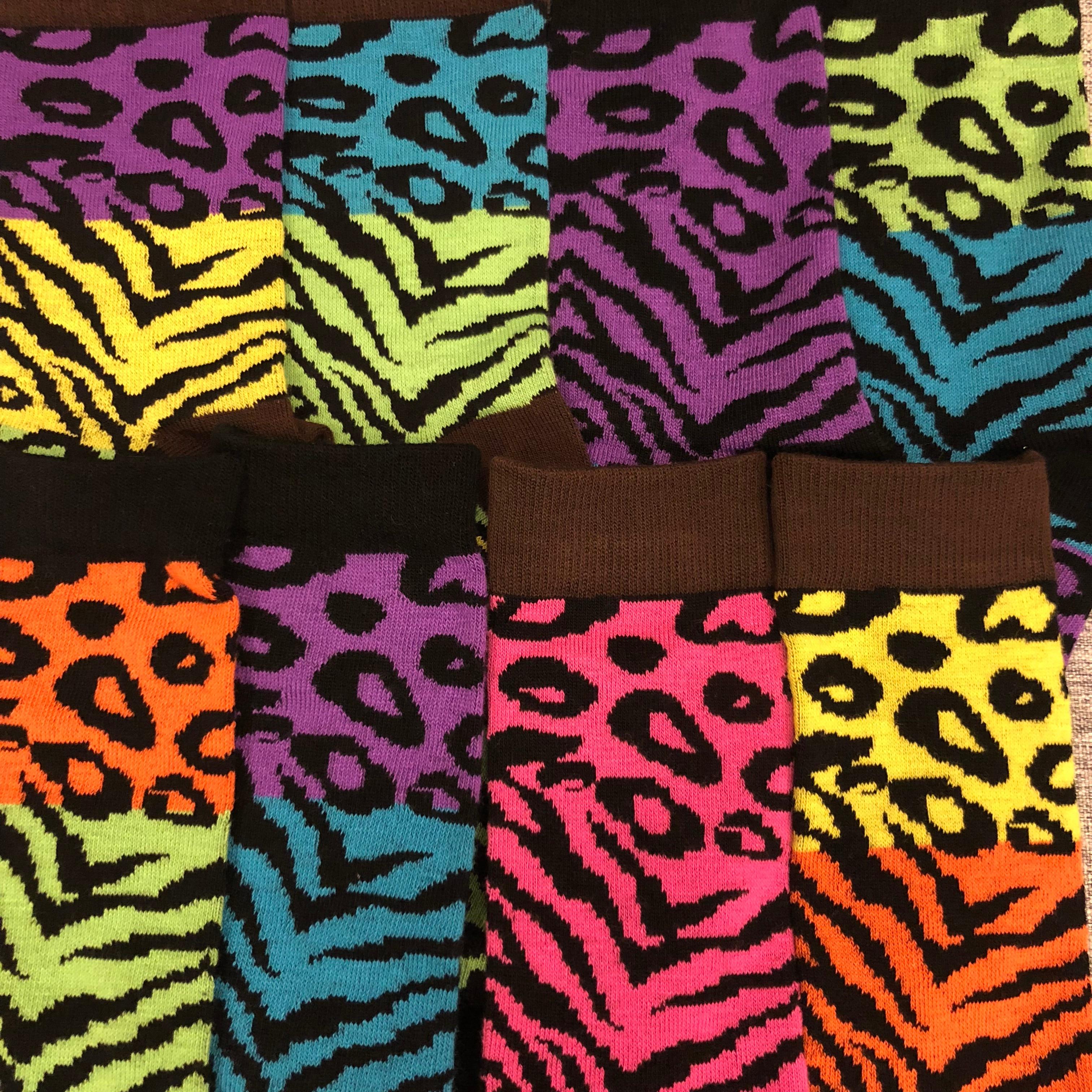 Adult Size Crew AB Different Socks Fashion King Leopard Zebra Tiger Stripe Differ Wild Animal Motif Print Mosaic Camouflage Camo