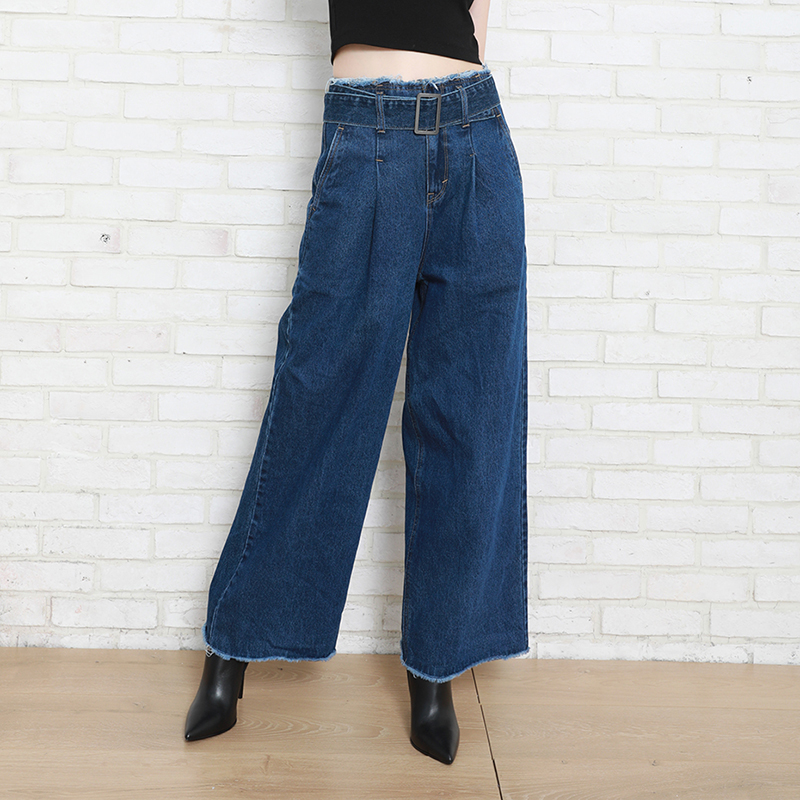 Autumn Winter Women Denim Pant High Waist Long Straight Comfort Waist Belt 100% Cotton Female Lady Jeans