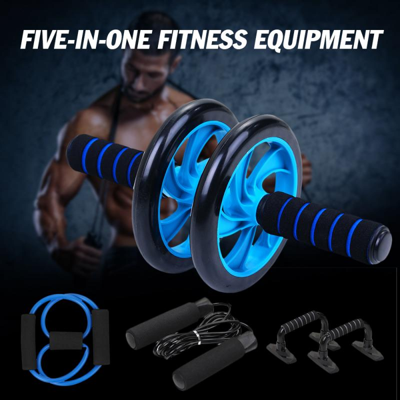 5-in-1 Muscle Trainer Wheel Roller Kit Double-wheeled Abdominal Wheel + Skipping Rope + Push-ups + Tensioners + Knee Pads