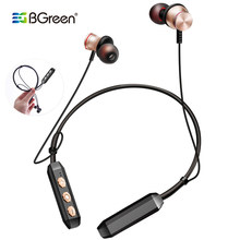 BGreen Sports Bluetooth Earphones Wireless Stereo Sport Running Headset With Soft Neckband Mic Hands Free Call Magnet Attraction(China)