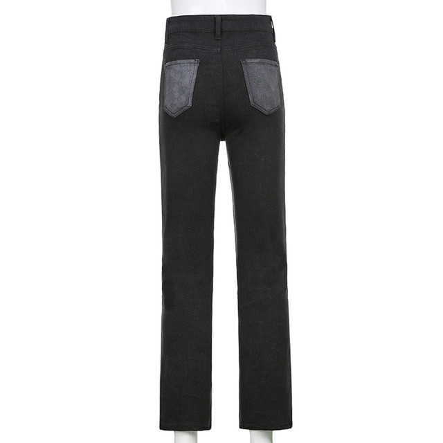 Women's 2021 New Street Fashion And High Street Gray Black Jointed High-Waisted Slimming Straight-leg Jeans Loose Long Trousers 6