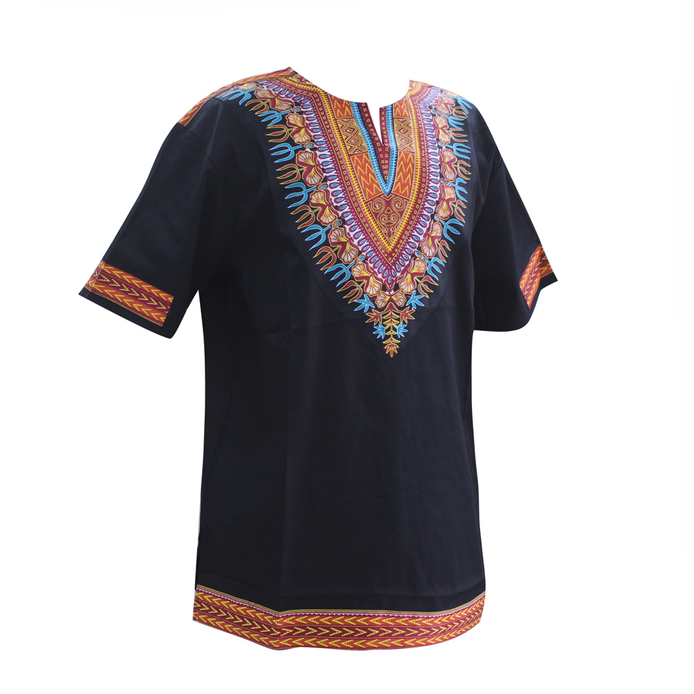 Dashikiage <font><b>African</b></font> Dashiki Pattern Print Short Sleeve <font><b>WAX</b></font> Fabric Tops <font><b>Shirt</b></font> Super Plus Size image