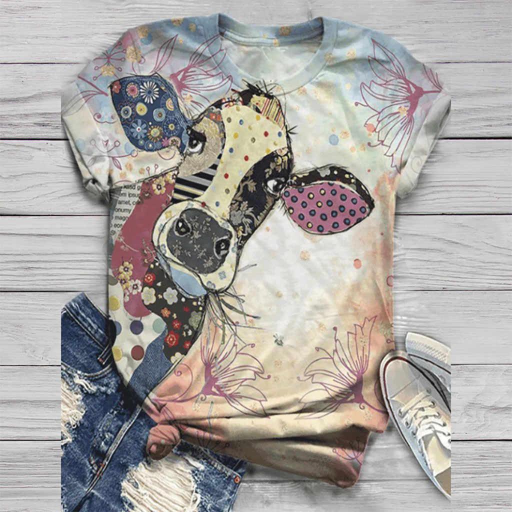 Tシャツ女性原宿トップス女性 2020 プラスサイズの女性の半袖 3D 動物プリント o ネックトップ tシャツ女性のサッカーシャツ