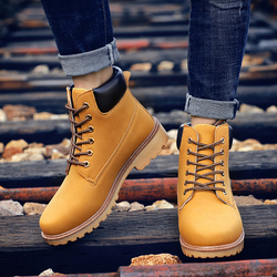 Yellow Leather Ankle Boots Men Timber Men Casual Shoes 2020 land Motorcycle Boots Men Waterproof Bot Men Winter Shoes Big Size