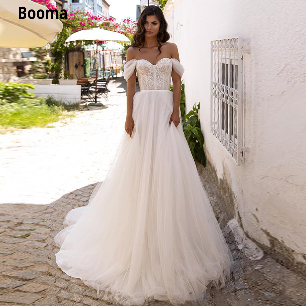 Booma Off The Shoulder Soft Tulle Wedding Dresses Lace Appliques Beach Bridal Gown Boho Sweep Train Vintage Party Dresses 2020