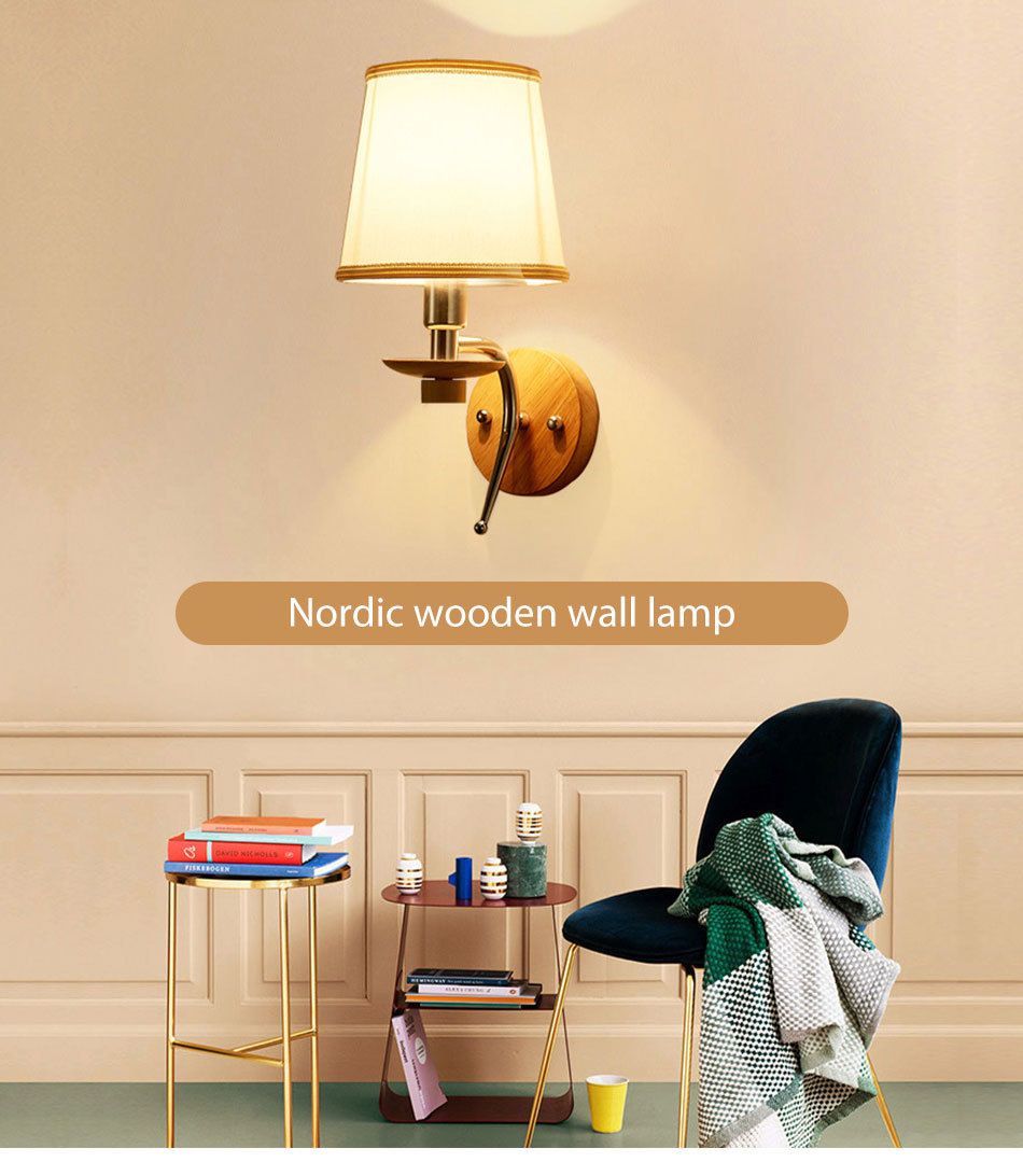 LED Bedside Wall Lamp E14 Bulb Fixtures Wood Aluminum Reading Light Fabric Glass wall Sconce Living Room Bedroom Indoor Lighting (3)