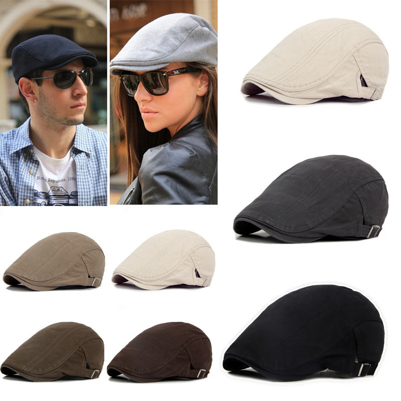 Adjustable Beret Caps Bone Brim Hats Outdoor Sun Breathable Solid Flat Berets Womens Mens Cap Hat