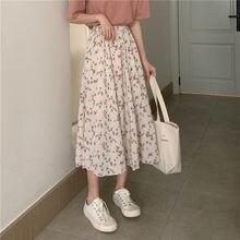 Womens Skirt Vintage Clothes Long Skirts White Harajuku Summer High Waist Streetwear 2021 Fashion flowy Spring Elastic Chiffon
