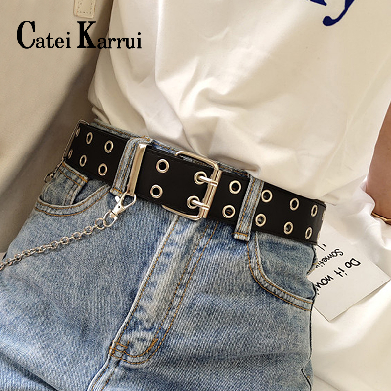 Catei Karrui Double Grommet Belt For Women Genuine Leather New Punk Style Fashion Pin Buckle Jeans Decorative Belt