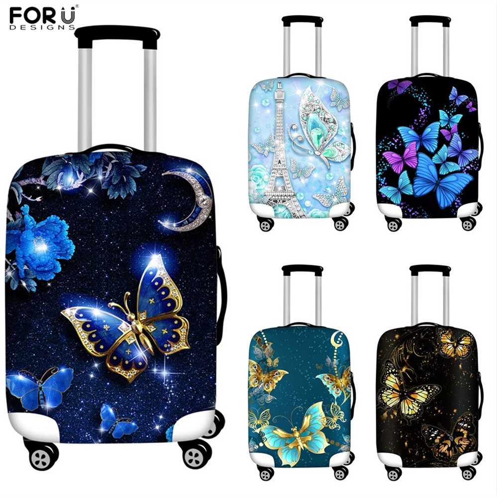 FORUDESIGNS Luggage Protective Covers Butterfly Animal Print Travel Accessories Baggag Elastic Trolley Trunk Dust Case Suitcase image