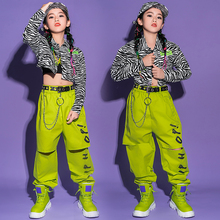 Kids Hip Hop Clothes Girls Fluorescent Green Pants Fashion Tops Street Dance Costume Jazz Performance Outfits Rave Wear BL5916