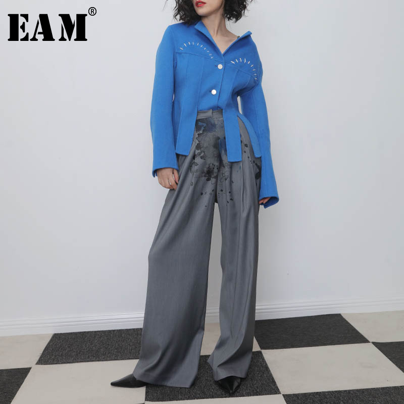 [EAM] High Waist Gray Print Split Long Wide Leg Trousers New Loose Fit Pants Women Fashion Tide Spring Autumn 2020 1N317