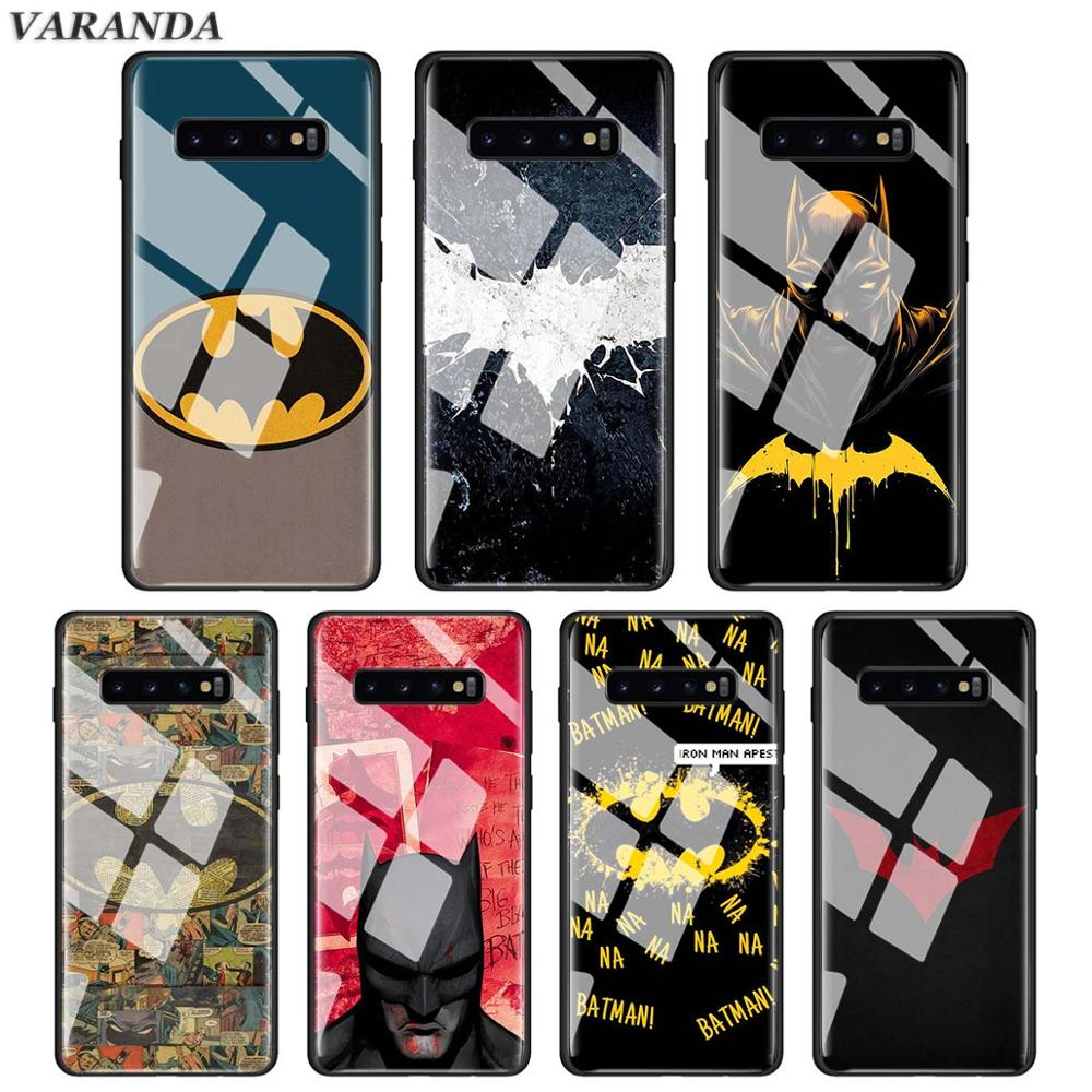 <font><b>marvel</b></font> hero batman <font><b>logo</b></font> Tempered Glass <font><b>Case</b></font> for <font><b>Samsung</b></font> <font><b>Galaxy</b></font> S10e S10 S9 S8 Plus <font><b>A30</b></font> A50 Note 9 10 Glass Phone Cover Capa image