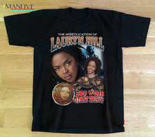 все цены на Lauryn Hill T shirt The Miseducation Of Lauryn Hill Hip Hop Print Short Sleeve Men Top Novelty T Shirts Men'S Brand Clothing онлайн