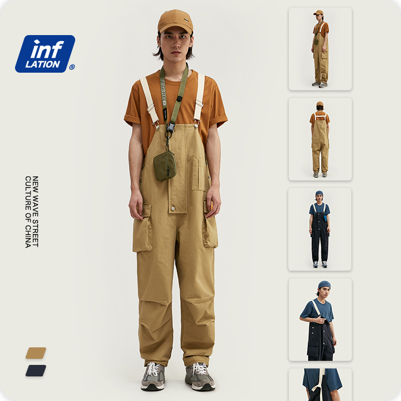 INFLATION  Mens Overalls Loose Fit Casual Men Pants Broadcloth Polyester Mens Pants Hip Hop Streetwear Mens Overalls  3027S20