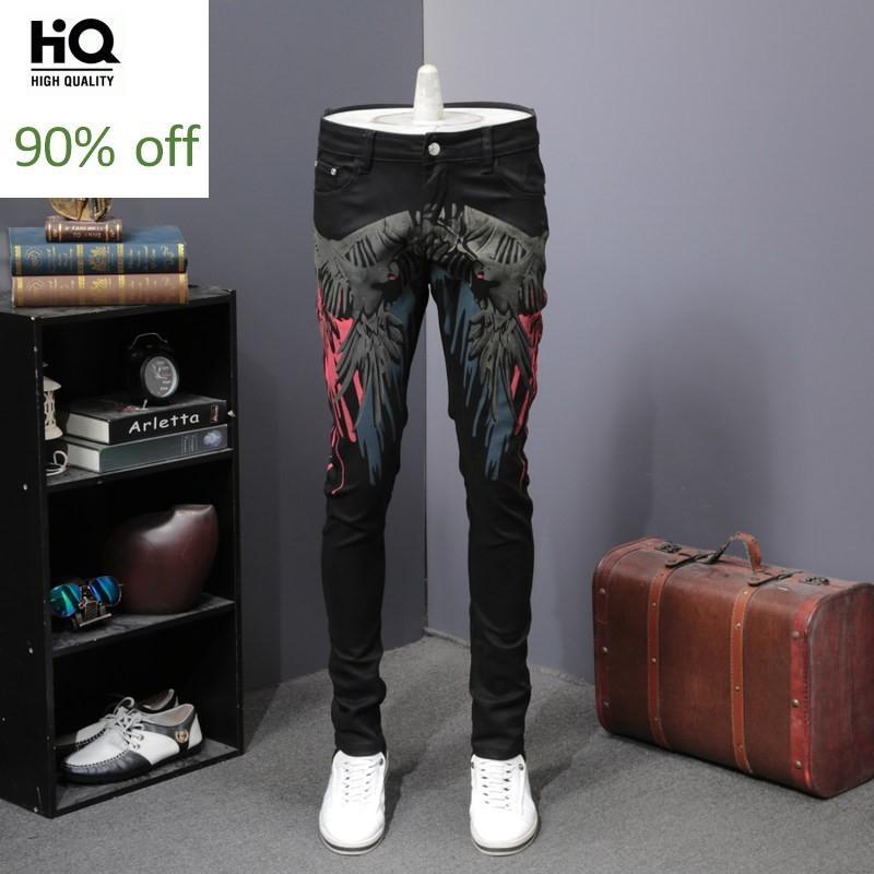 Black Print Slim Fit Straight Jeans Men Fashion 2020 Zipper Hip Hop Denim Trousers Club Pantalon Homme Top Quality Party Jeans