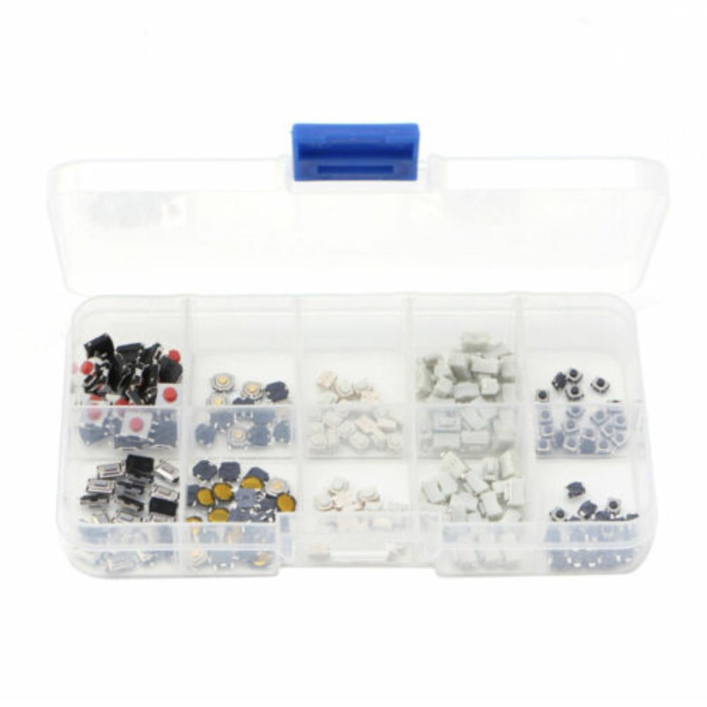 250 Pcs Tactile Push Button Switch Micro Switch 10 Models For Car Remote Control Button Switches Kit Set Key Switch