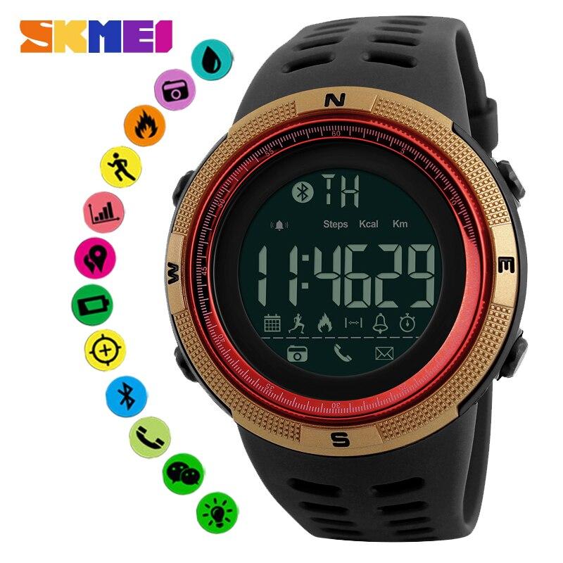 SKMEI Relógio Inteligente Bluetooth Chamada Mensagem Lembrar Distância Calorias Dormir Monitor de Esporte relógio de Pulso Smartwatch Para Android IOS