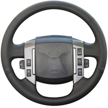 цена на Hand Sew Black Genuine Leather Car Steering Wheel Cover for Land Rover Discovery 3 2004 2005 2006 2007 2008 2009