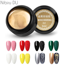 Brushed Glue Metal Art-Decoration-Tools Flower-Line Nail-Painting-Gel Nails Drawing 8-Colors