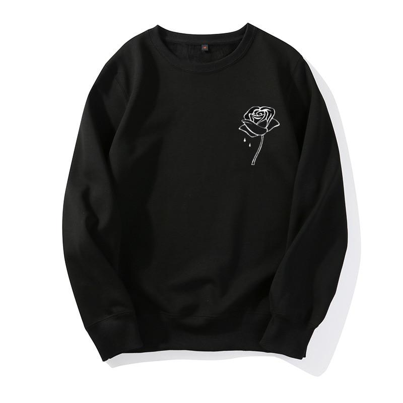 Женский Санитарный свитер с принтом розы, пуловер с круглым вырезом, 2019|Толстовки и свитшоты|   | АлиЭкспресс