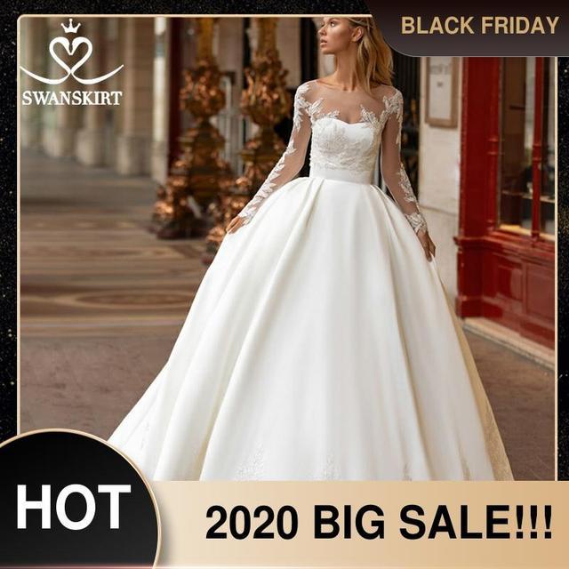 Swanskirtでエレガントな2 1ジャケットのウェディングドレス2020アップリケサテンaライン王女カスタマイズされた花嫁衣装vestidoデ · ノビアI326