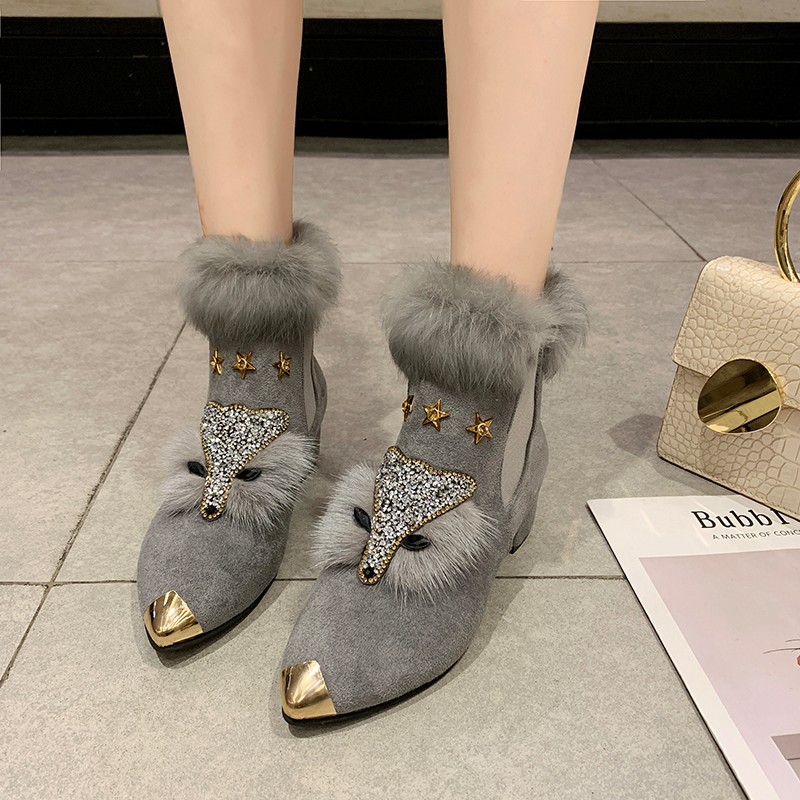 W- Thick and fashion trend new short boots warm daily non-slip increase height winter comfortable personality snow boots women 39
