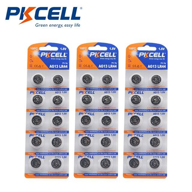 30Pcs/3 Kaart 1.5V AG13 145Mah LR44 L1154 RW82 RW42 SR1154 SP76 A76 357A Batterij Knop coin Batterijen Voor Thermometer