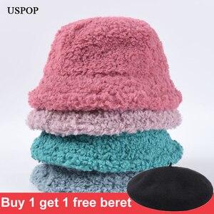 Image 1 - USPOP Winter frauen eimer hüte weiblichen candy farbe lamm haar eimer hüte süße dicke warme hüte
