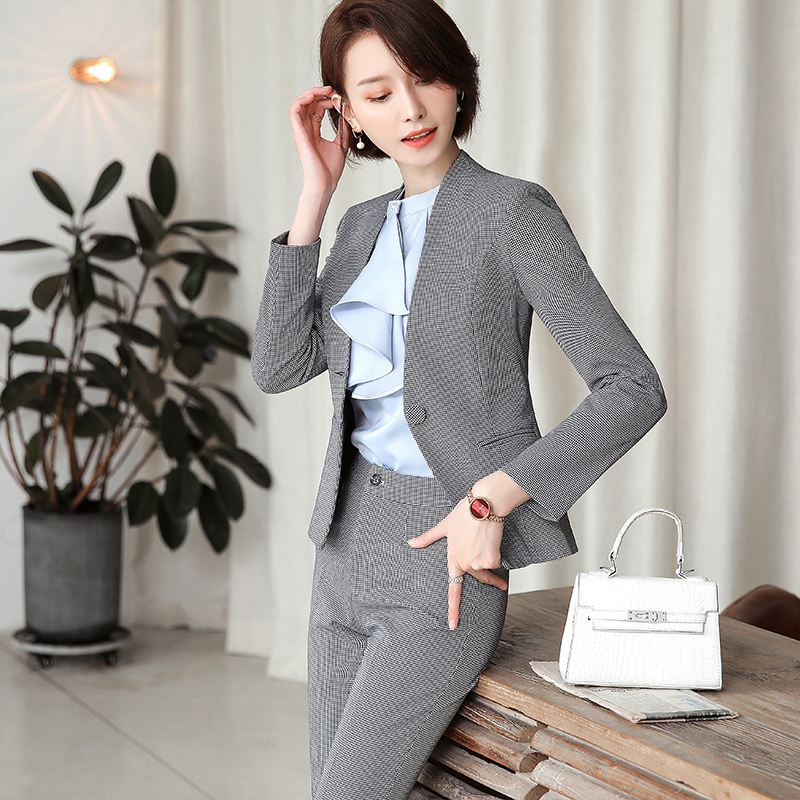 Lenshin High-quality 2 Piece Set Houndstooth Formal Pant Suit Blazer Office Lady Design Women Plaid Jacket and Full-Length Pant 22