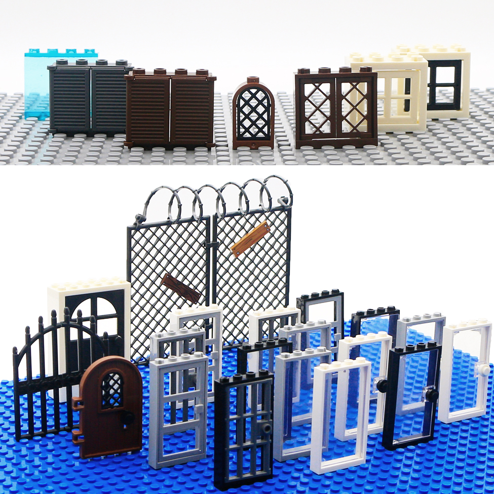 City Accessories Building Blocks House Door Window Frame MOC Friends Mini Figures Castle Garden Parts Bricks City Building Toys