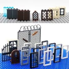 City Accessories Building Blocks House Door Window Frame MOC Friends Mini Figures Castle Garden Parts Bricks City building Toys