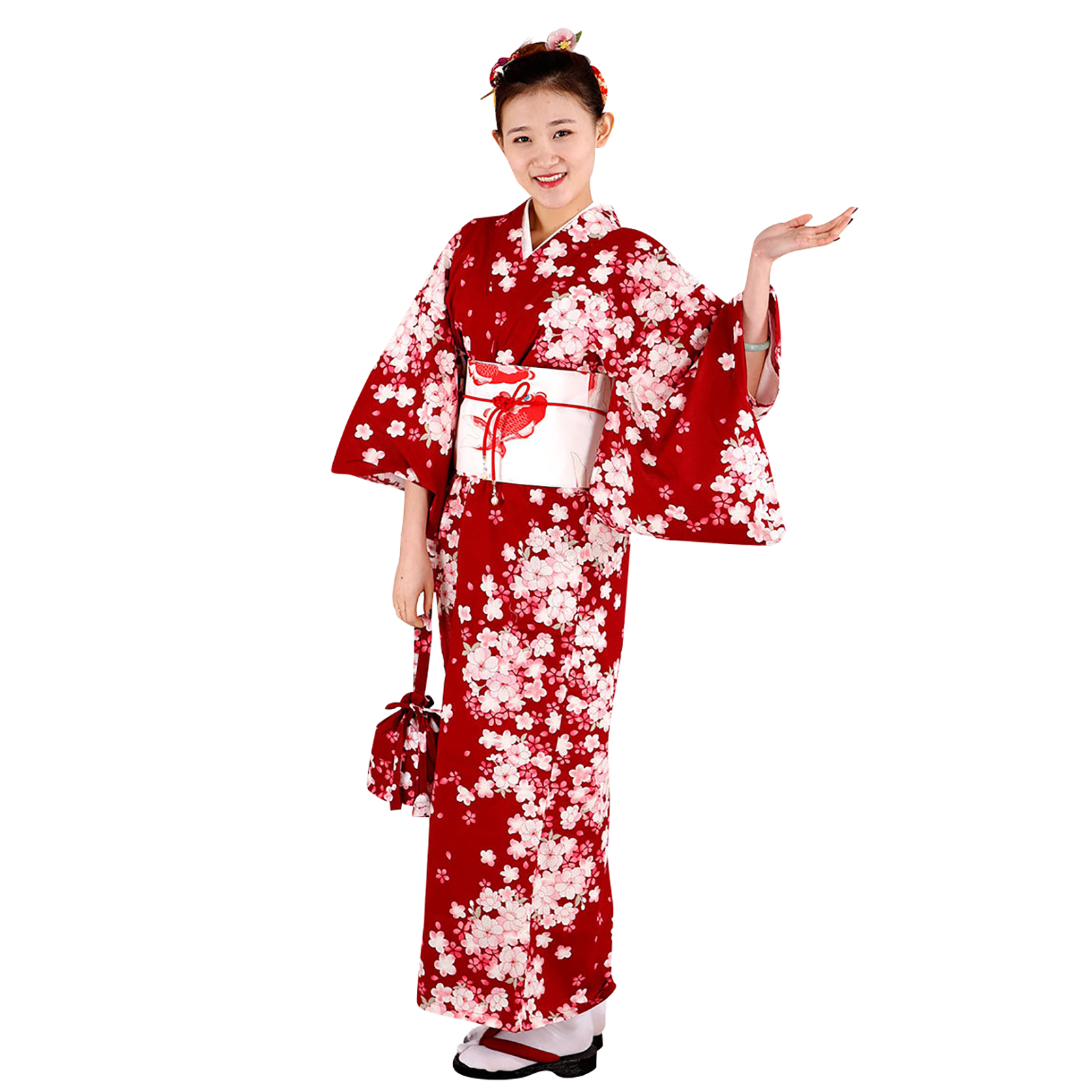 Women's Red Floral Kimono Robe Traditional Japanese Geisha Cosplay Costume Winter Sweets Pattern Yukata Dress