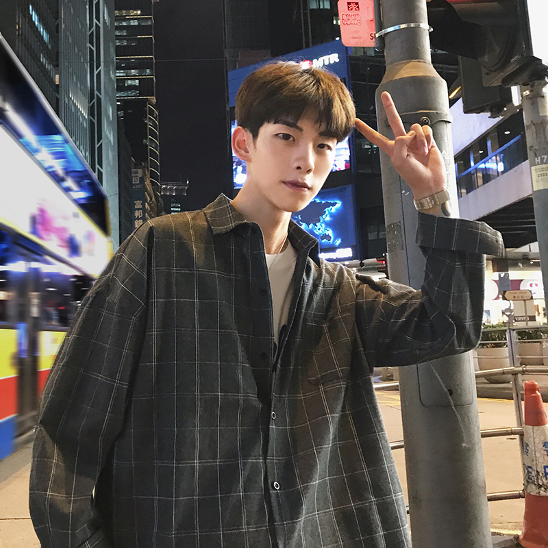 Japanese Plaid <font><b>Men</b></font> <font><b>Shirts</b></font> Loose Fashion <font><b>Korean</b></font> <font><b>Oversized</b></font> Retro Casual <font><b>Men</b></font> Plaid <font><b>Shirt</b></font> <font><b>Mens</b></font> <font><b>Korean</b></font> <font><b>Style</b></font> <font><b>Shirt</b></font> <font><b>Men</b></font> Clothes B50 image