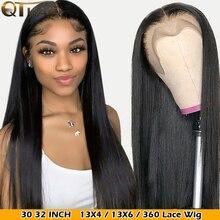Peluca con malla Frontal recta de 32 y 30 pulgadas, cabello humano liso brasileño con flequillo, 360