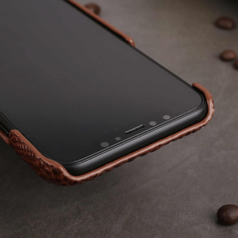 Para Iphone 11 Pro XS carcasa para Max XR Funda de cuero genuino para IPhone X XS 6 8 7 Plus funda trasera de piel de cocodrilo de lujo