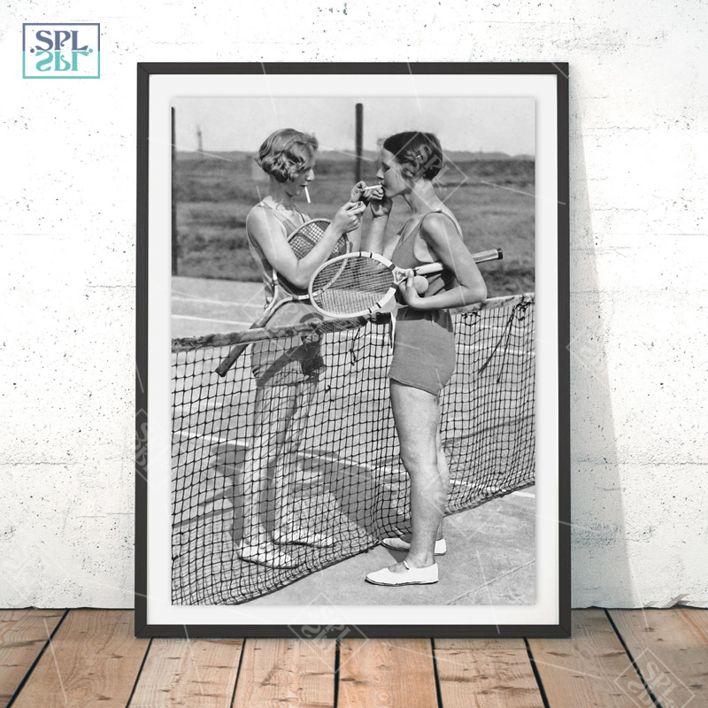 Tennis Poster Canvas Art Print Women Smoking Vintage Photography Painting Black and White Picture Home Girls Room Wall Art Decor