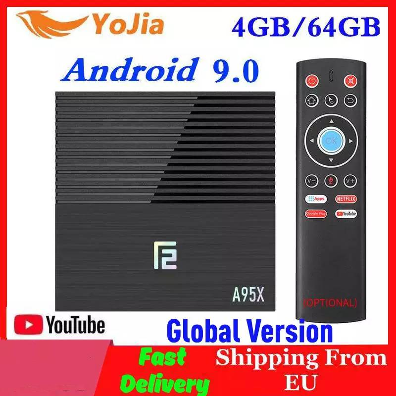 Amlogic s905x3 smart android 9.0 caixa de tv max 4 gb ram 64 gb rom dupla wifi media player a95x f2 1/8g google store youtube pk x96 max