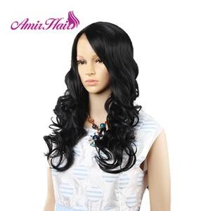 Image 5 - Amir perruque Lace Front synthétique ondulée longue pour femmes au teint noir et blanc, coiffure de Cosplay résistante à la chaleur, Ombre noire, Blonde, rouge