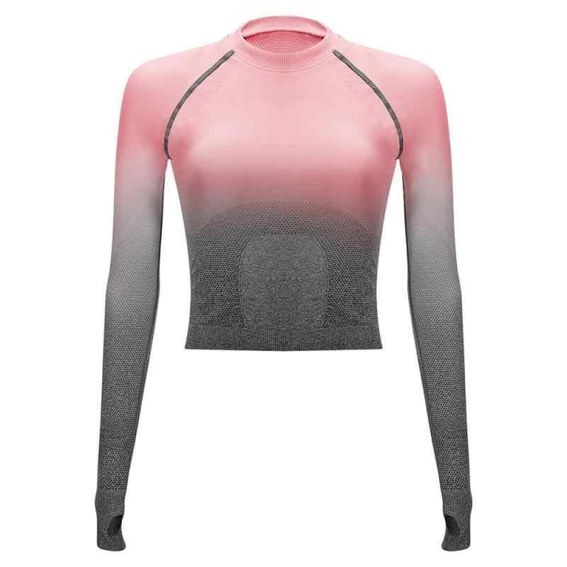 Frauen Yoga Set Gymnastik Kleidung Ombre Nahtlose Gradienten Leggings + langarm Top Workout Sport Anzug Frauen Fitness Set Aktive tragen 7