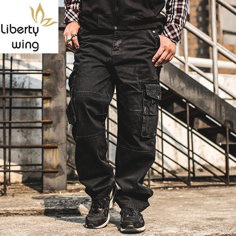 Fashion Casual Plus Size Mens With Pocket Baggy Cargo Pants Denim Black Loose Straight Jeans For Men Streetwear