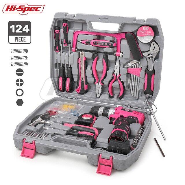 하이-사양 60 조각 핑크 손 도구 세트 키트 12V 전기 스크루 드라이버 리튬 이온 배터리 그릴 레이디 여성 가정용 전동 공구 세트