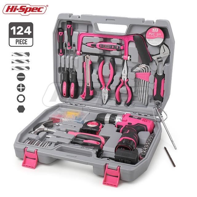 Hi-Spec 60 Stuks Roze Hand Tool Set Kit 12V Elektrische Schroevendraaier Li-Ion Batterij Gril Lady Vrouwen Huishouden power Tool Set