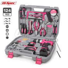 Hi Spec 60 pièces rose ensemble doutils à main Kit 12V tournevis électrique Li ion batterie Gril dame femmes ménage ensemble doutils électriques