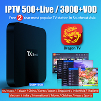 TX3 Mini 2G 16G Smart Android TV Box and 2 Years Free IPTV Dragon TV 500+ live Channels 3000 VOD Chinese Asia IPTV subscription