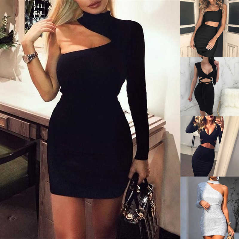 Bodycon Bandage Vrouwen jurk Jurken Verano 2020 Summer Sexy Elegant Wit Zwart Geel een schouder Mini Celebrity Party Dress