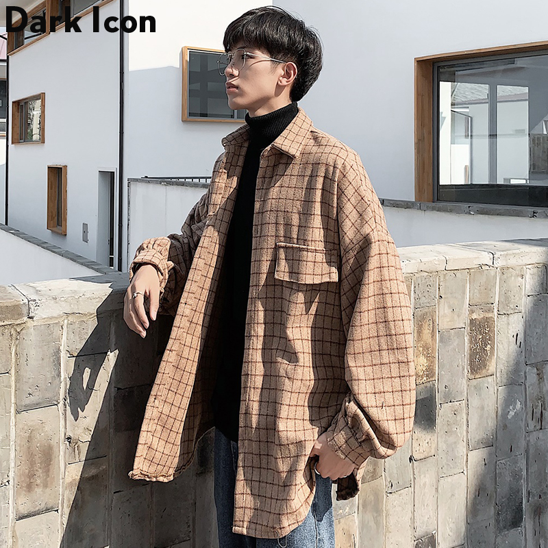 Small Plaid Japanese Streetwear Shirt  Flannel Vintage Chemise Shirt Casual Outwear Coat Men Clothes