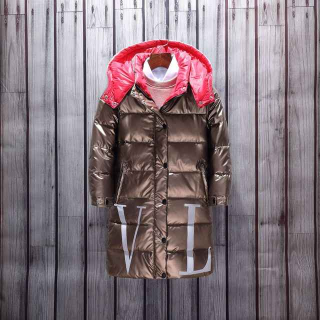 ใหม่-30 องศาเด็กชายหญิงอบอุ่นเป็ดฤดูหนาวลงเสื้อแจ็คเก็ตเงินเสื้อผ้าเด็ก Hooded Thicken ยาวกันน้ำ parka