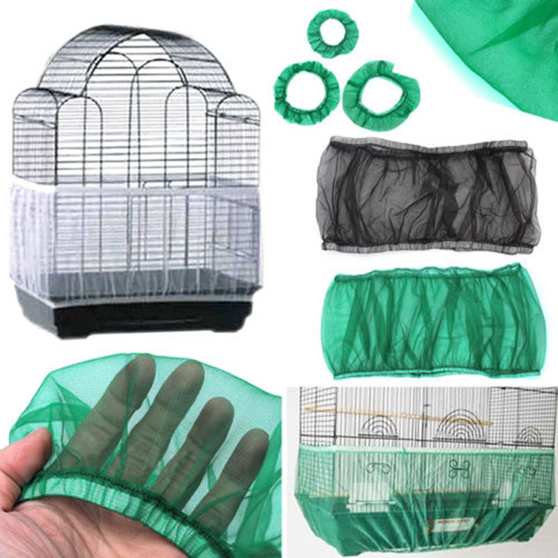 Nylon Mesh Bird Cage Cover  Seed Bird Parrot Cover Soft Easy Cleaning Nylon Airy Fabric Catcher Bird Supplies