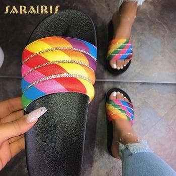 Sarairis Fashion New 2020 Low Heel Summer Slippers Woman Shoes Slip On Crystal Fashion Dropship Shoes Women Slippers